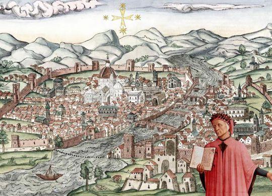Rielaborazione grafica, a cura di Mauro Marrani, di Dante con la Divina Commedia aperta, tratta dal dipinto quattrocentesco di Domenico Michelino, della veduta della Catena del 1470 e della Croce del Sud in cielo, tratta dall'incisone cinquecentesca di Giovanni Stradano